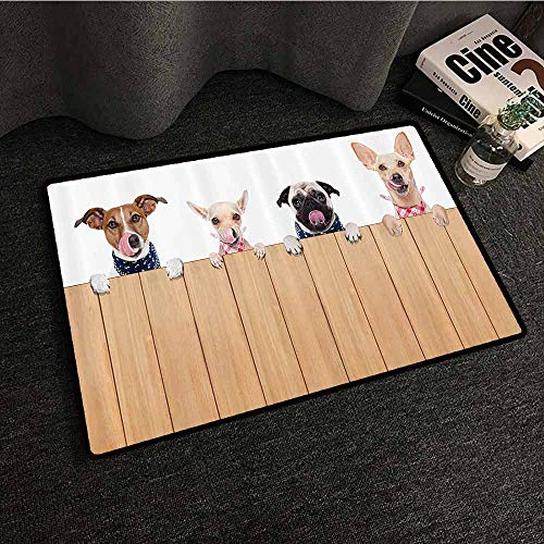 Dog Lover Decor Collection Interesting Doormat Row of Hungry Dogs Tongue Sticking Out Behind A Wall of Wood Lunch Time Art Country Home Decor W16 xL24 Camel White