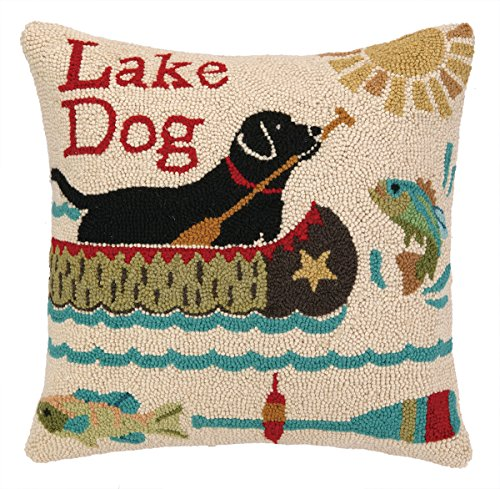 Peking Handicraft Lake Dog Hook Pillow, 18 by 18-Inch, Multicolor