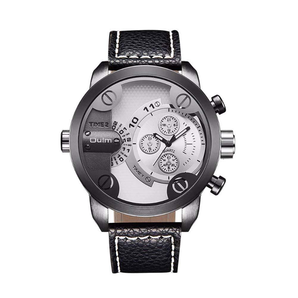 Hermosa Watches Oulm/Moda Doble Zona horaria Reloj de Hombre ...