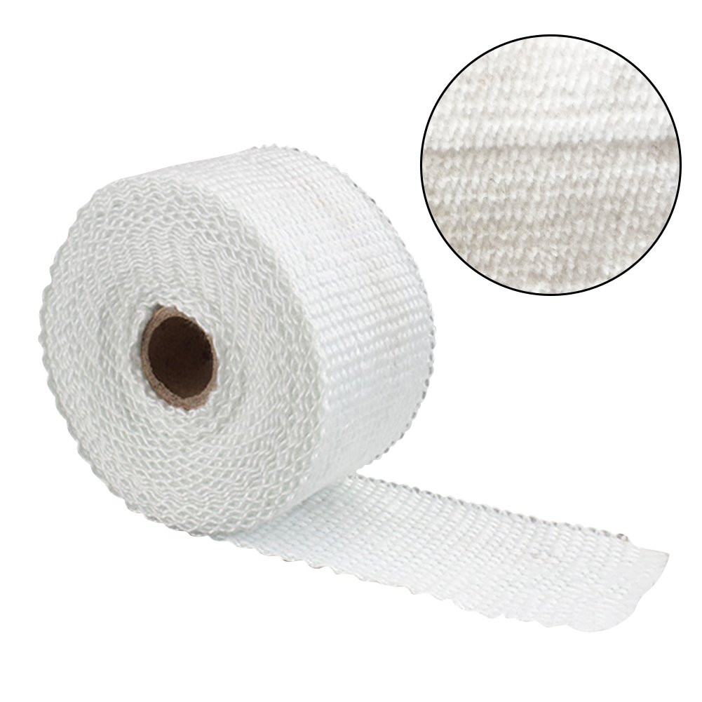 Titanium Exhaust Heat Wrap roll for motorcycle Fiberglass Heat Shield tape con laccetti in acciaio bianco Tookie