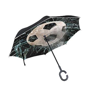 Mnsruu - Paraguas invertido de fútbol con Doble Capa de Cristal, Resistente al Viento,