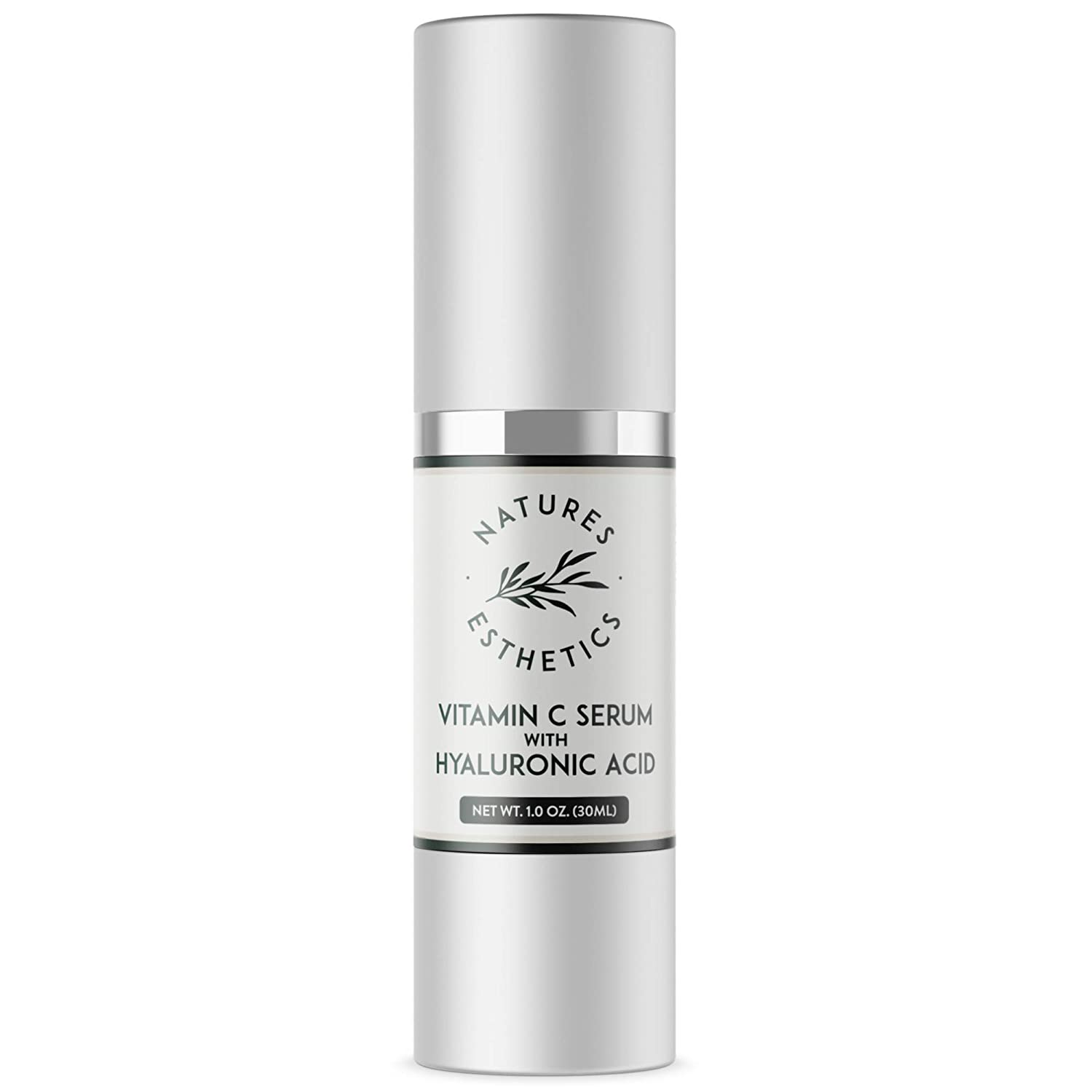 Natures Esthetics Vitamin C Serum with Hyaluronic Acid for Face - Anti-Aging, Pore Minimizer, Acne Treatment, Skin Brightening and Tightening. Packaging Prevents Oxidation. Air-Tight 1 fl.oz