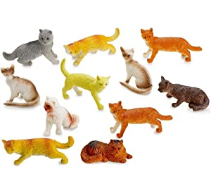 """Miniature Authentic Cat Figurines Toys - 12 Assorted , 2"""" Inch - for Kids, Boys, Girls, Cat Lovers, Play, Decoration, Gifts, and Party Favors - Kidsco"""