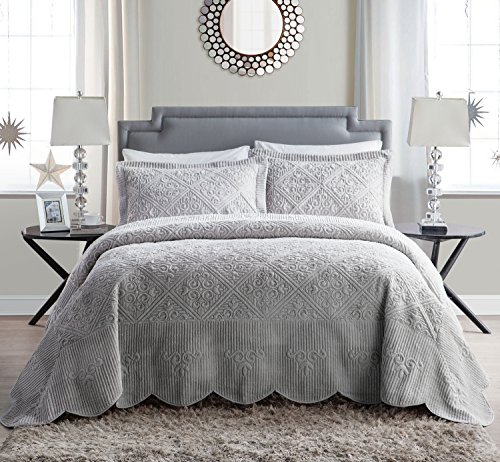 VCNY Home WS1-3BP-QUEN-IN-GV Westland Plush Quilted 3-Piece Bedspread Set, Queen, Grey