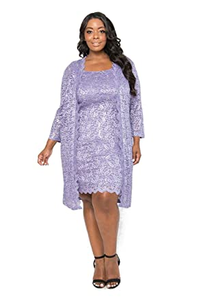 2cf03d6958a0b R M Richards Mother of The Bride Short Cocktail Jacket Dress Lavender