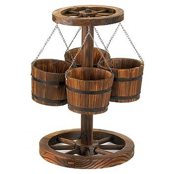 Wagon - Macetero de madera, diseño de rueda de Wagon con cubos, 4 cubos