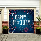 Outdoor Patriotic American Holiday Garage Door Banner Cover Mural Décoration - Fireworks Happy 4th of July - Outdoor American Holiday Garage Door Banner Décor Sign 7'x 8'
