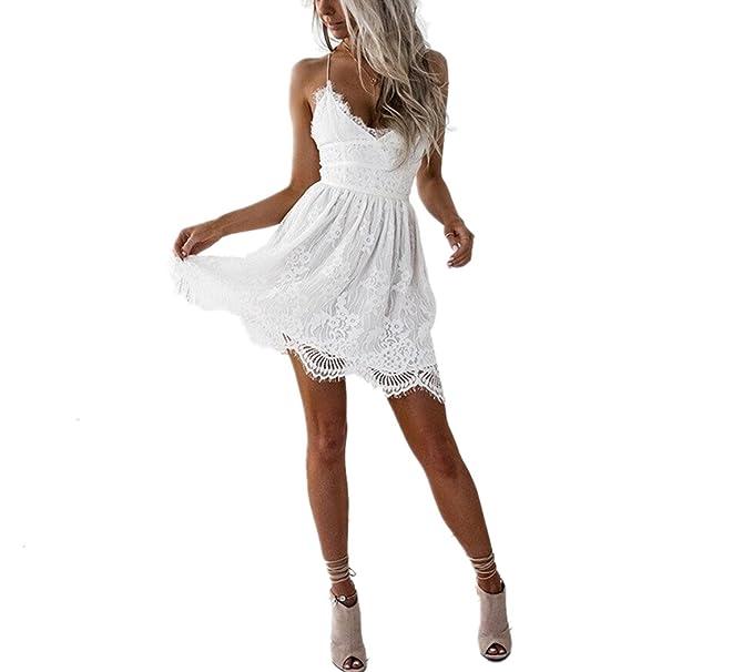 Vestido de mujer, Lananas 2018 mujeres verano sexy profundo escote en v sin respaldo patchwork sin tirantes mini playa de hadas vestido blanco: Amazon.es: ...