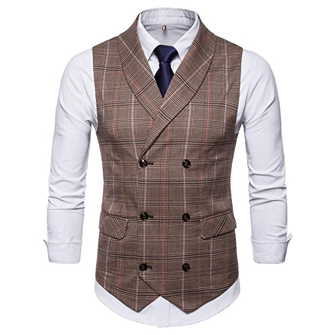 Amazon.com: SMALLE ◕‿◕ Clearance,Men Plaid Button Casual Printed Sleeveless Jacket Coat British Suit Vest Blouse: Clothing