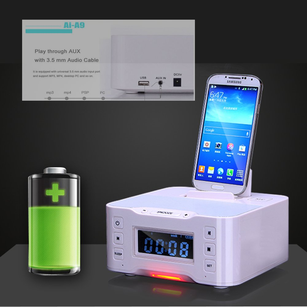 A9 NFC Bluetooth docking speaker Supported Radio Alarm Clock for Apple/Samsung/LG Phones & tablets(white) by iKNOWTECH (Image #1)