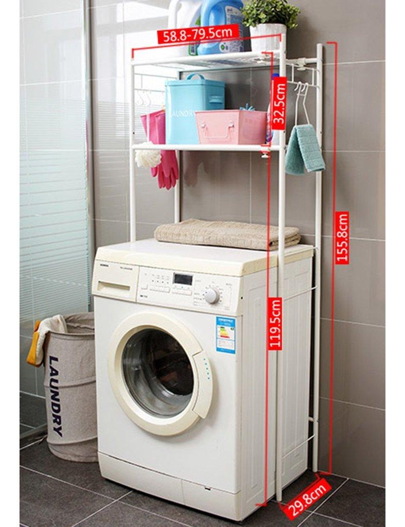 Estantes de la lavadora ZCJB Lavadora De Piso Lavabo Marco Estantes De Baño Marco De Acabado Estante De Almacenamiento De Múltiples Capas Ajustable