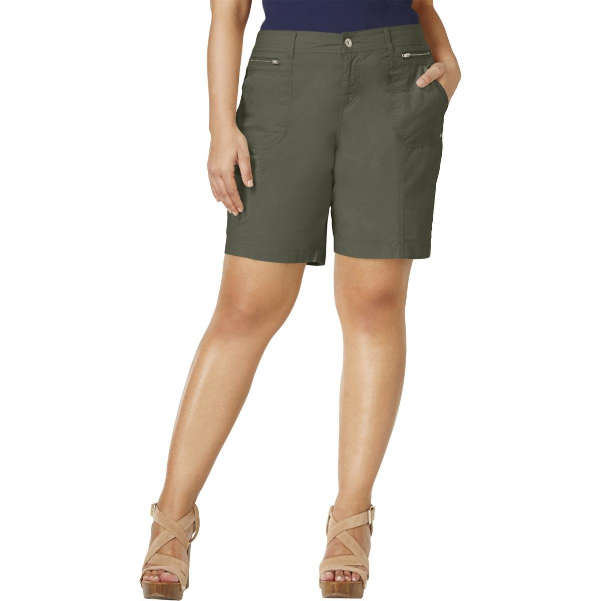 Style & Co. Womens Plus Relaxed Casual Cargo Shorts Green 14W