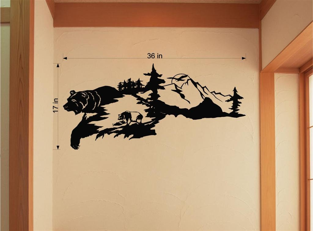 Bear Animal Vinyl Wall Art Rustic Cabin Lodge Mountains Hunting