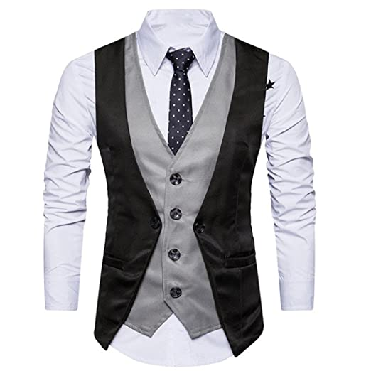 Manxivoo Men Formal Tweed Check Double Breasted Waistcoat Layered