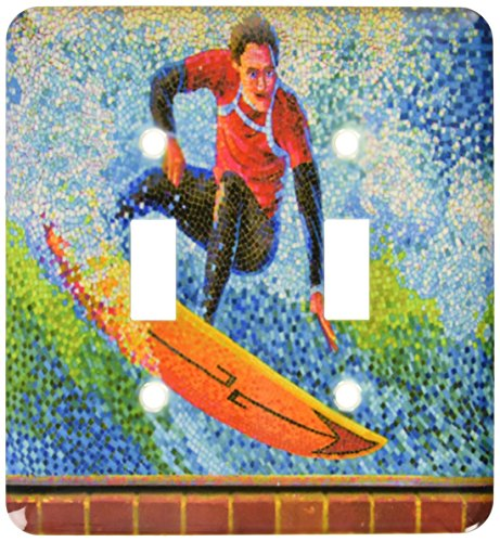 - 3dRose lsp_53894_2 Mosaic Surfing Digital Art Surfer And Surfboard Toggle Switch