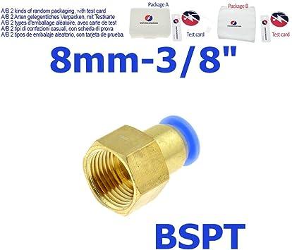 PC8-1 10pcs Tuber/ía neum/ática de aire de 8mm Empuje hacia adentro Conexiones r/ápidas Rosca macho Conectores rectos Accesorios Acessory