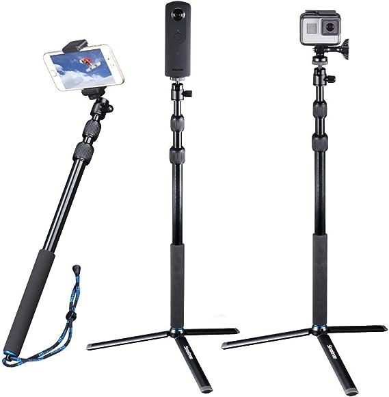 """Imagen deSmatree DC Palo Selfie Stick Telescópico con Trípode para GoPro Hero 2018, Hero 7/6/5/4/3+/3/2/1/Fusion/Session, Osmo Action Cámaras Compactas (Rosca de 1/4"""")"""
