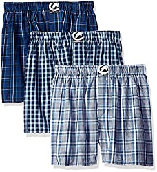 ecko unltd. Men's 3pk Woven Boxers 291, Blue/Black Plaid, Navy/Green CK/Navy/Blue CK, Medium