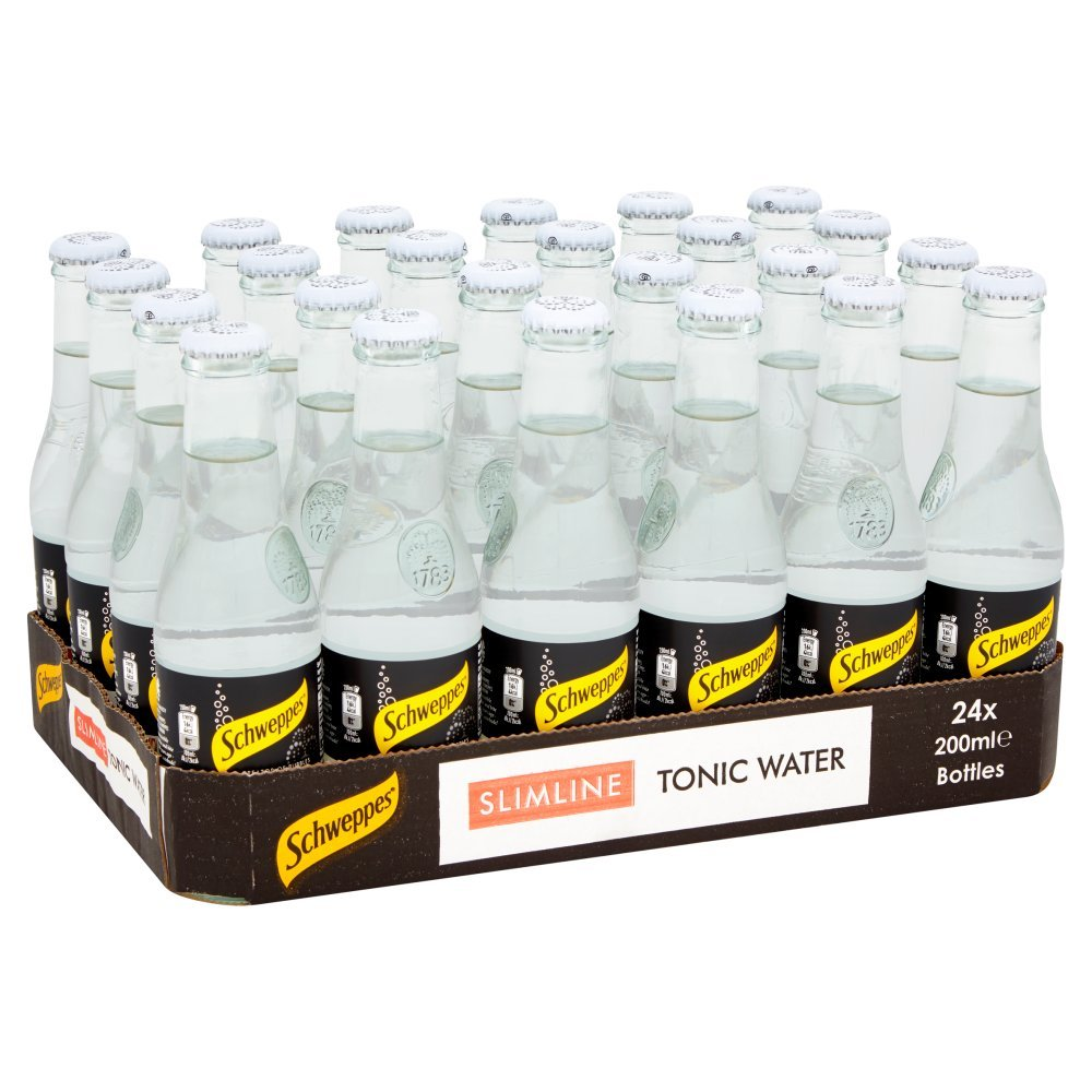 Schweppes Slimline Tonic Water Glass Bottles, 24 x 200 ml