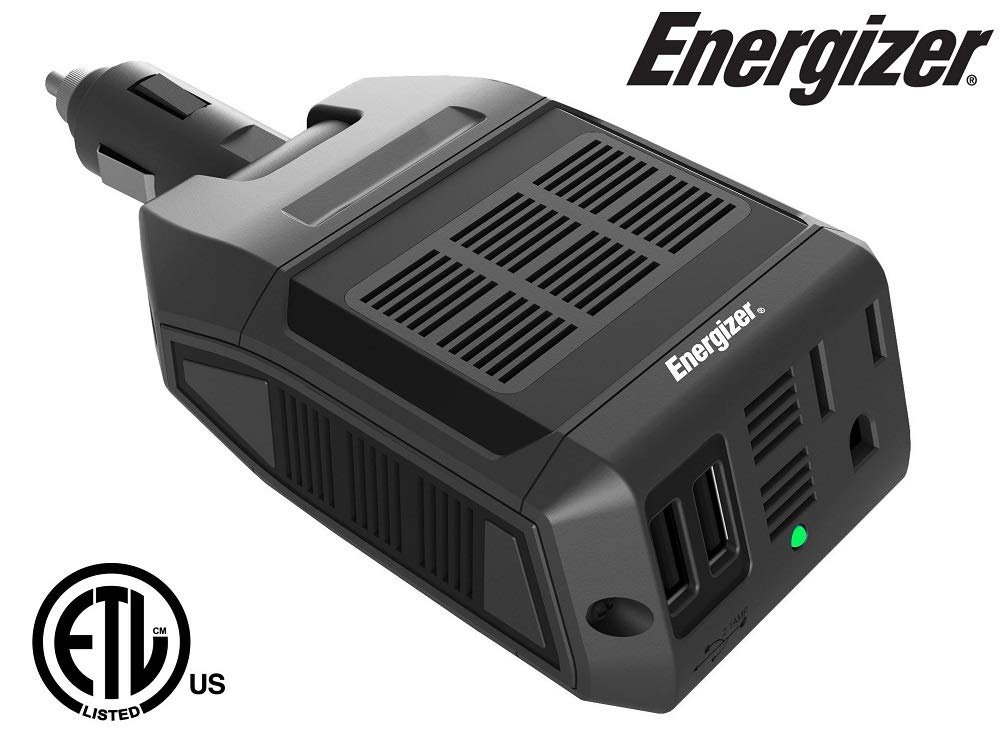 ENERGIZER 500 Watt Power Inverter 12V DC to AC + 4 x 2.4A USB Charging Ports Total 9.6A Energizer Batteries EN548A