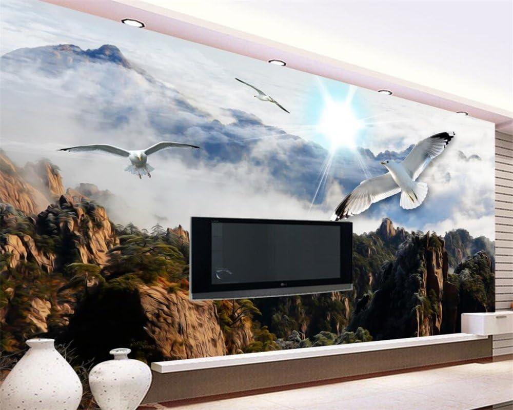 Wapel Gran Papel Tapiz Personalizado 3D Blue Sky Nubes Blancas Hermosos Paisajes De Montaña Pintoresca Pintura Foto Papel Tapiz De Pared Tela de seda 200x140CM: Amazon.es: Bricolaje y herramientas
