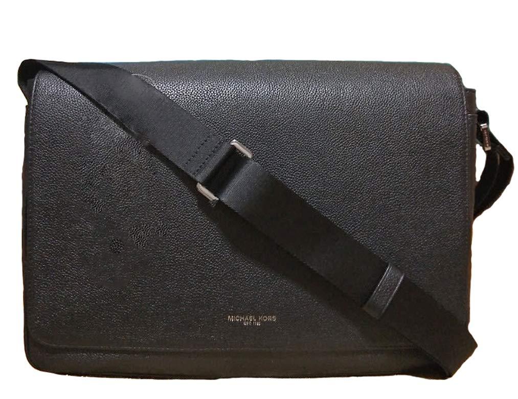 Michael Kors Russel Large Messenger Leather Crossbody Bag PC Laptop Tablet Ipad Bag for Work, Black