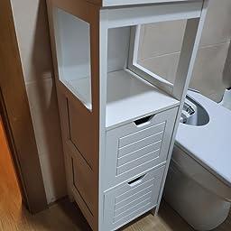 Homfa Armario de Suelo para baño Mueble Columna 1 Estantes y 2 ...