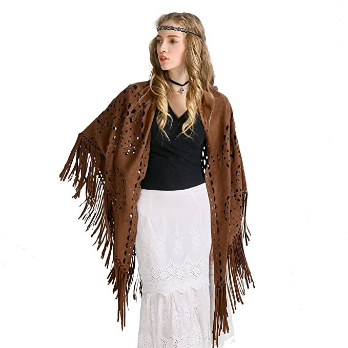 fdf01f46b ZOFZ Fashion Suede Laser Cut Fringed Cape triangle Shawl Wrap Scarf 4  Colors (Brown YG) at Amazon Women's Clothing store: