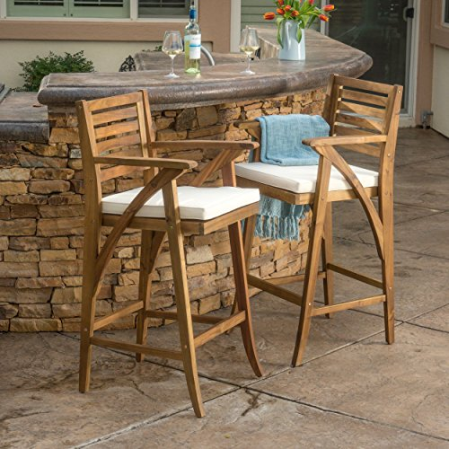 Anguilla Teak Finish Acacia Wood Outdoor Barstool (Set of 2)