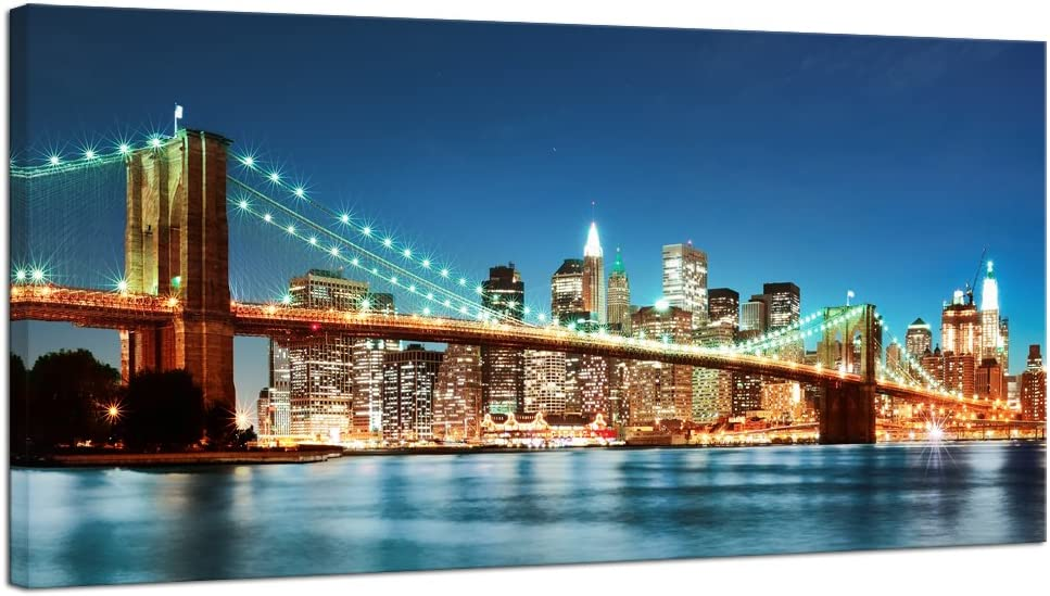 Pyradecor Large Modern New York Cityscape Canvas Wall Art Brooklyn Bridge Night View Giclee Canvas Prints Stretched and Framed Landscape Pictures Paintings Artwork for Living Room Home Decorations L