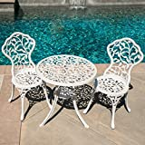 Belleze White Cast 3 Piece Bistro Outdoor Patio Set Leaf Design Weather Resistant Round Table 2 Chairs Garden Furniture