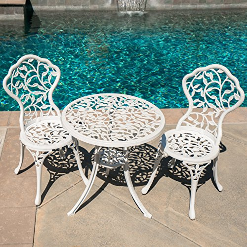 Cast Aluminum Patio Furniture Heart Pattern: Belleze White Cast 3 Piece Bistro Outdoor Patio Set Leaf