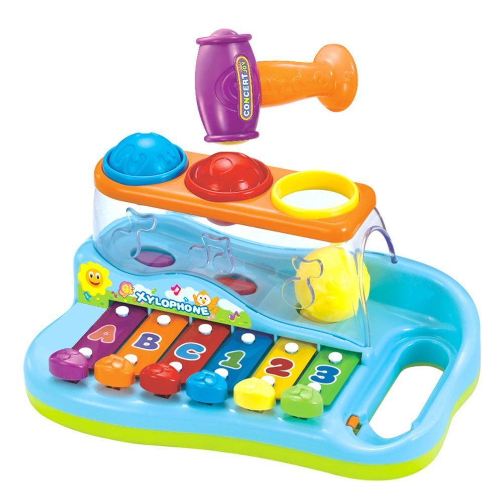 Volmia 3 in 1 Toy Xylophone Music Toys Music Instrument for Child Cartoon Multi-function Toy with 3 Colorful Balls and 1 Hammer Musical Toys Plastic Toys Xylophone for Baby Best Gift for Kids Baby Toy