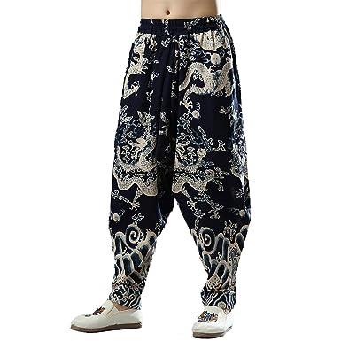 LZJN Pantalones de chándal de algodón de Lino de algodón de la ...