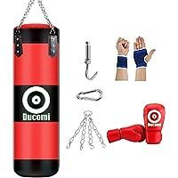 Ducomi Rocky Saco de Boxeo para Colgar en el Techo, Kit de Boxeo, Kick Boxing, Fitboxe Saco Vacío, Guantes, Banda de…