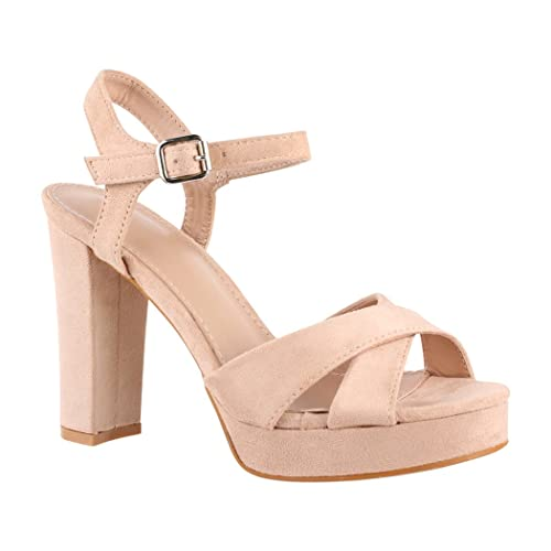 King Of Shoes - Plataforma Mujer , color beige, talla 41 EU