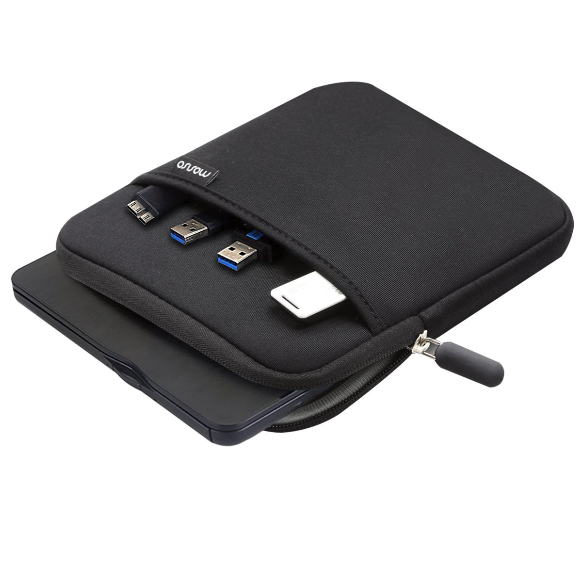 MOSISO External USB CD DVD Writer Blu-Ray & Hard Drive Sleeve Bag, Compatible MD564ZM/A USB 2.0 SuperDrive, Magic Trackpad, Samsung SE-218CB SE-218GN SE-208GB SE-208DB, LG GP65NB60, Dell DW316, Black by MOSISO (Image #2)