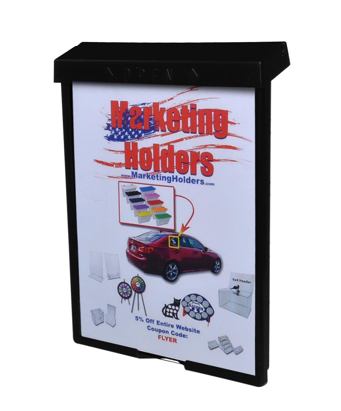 Marketing Holders Outdoor Brochure Holder for 8.5''W x 11''H Literature (Brochure Holder, Black)