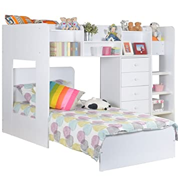 Flair Furniture Kids Wizard L Shaped Bunk Bed In White Amazon Co Uk