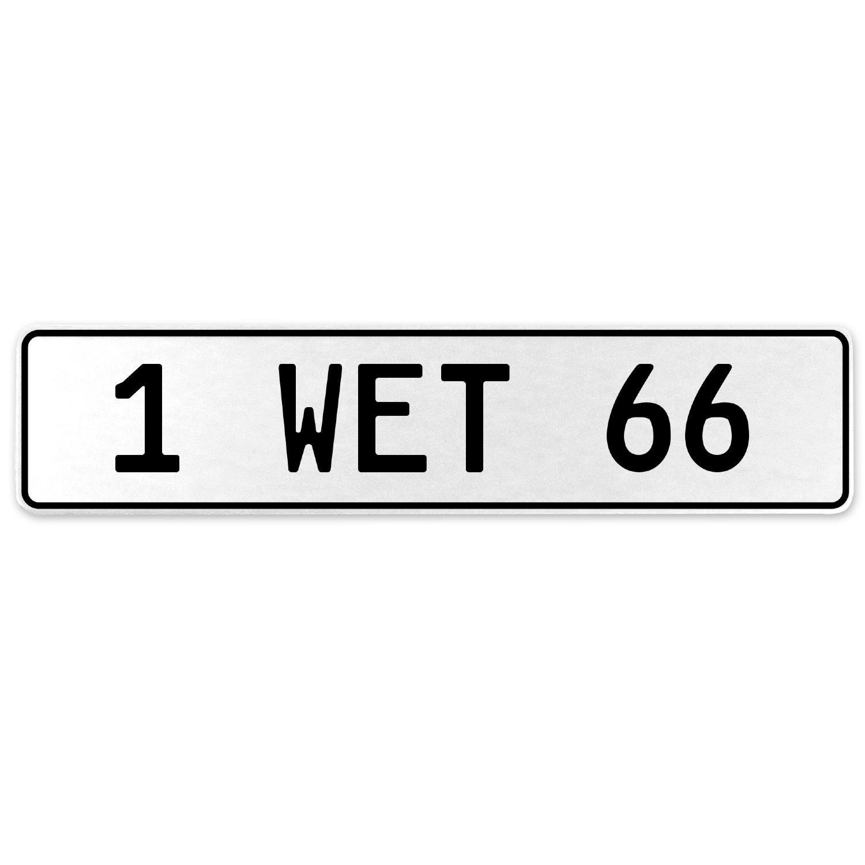 Vintage Parts 555059 1 Wet 66 White Stamped Aluminum European License Plate