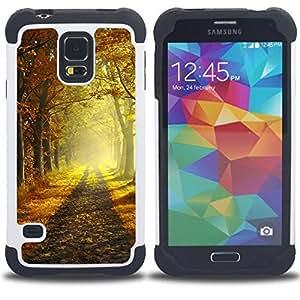 - Autumn morning/ H??brido 3in1 Deluxe Impreso duro Soft Alto Impacto caja de la armadura Defender - SHIMIN CAO - For Samsung Galaxy S5 I9600 G9009 G9008V