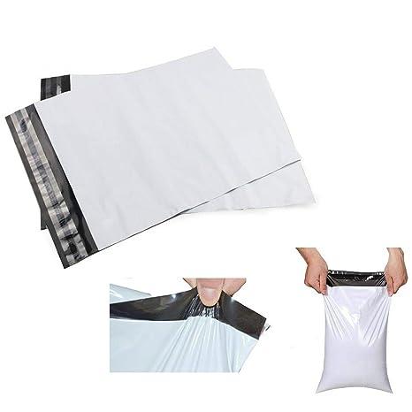 100 x gris de plástico blanco fuerte bolsa de polietileno ...