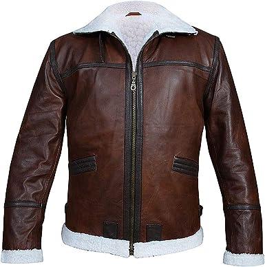 Men/'s RAF B3  Aviator WWII Genuine Leather  Flying Bomber Brown Winter Real Sheepskin Handmade Leather Jacket