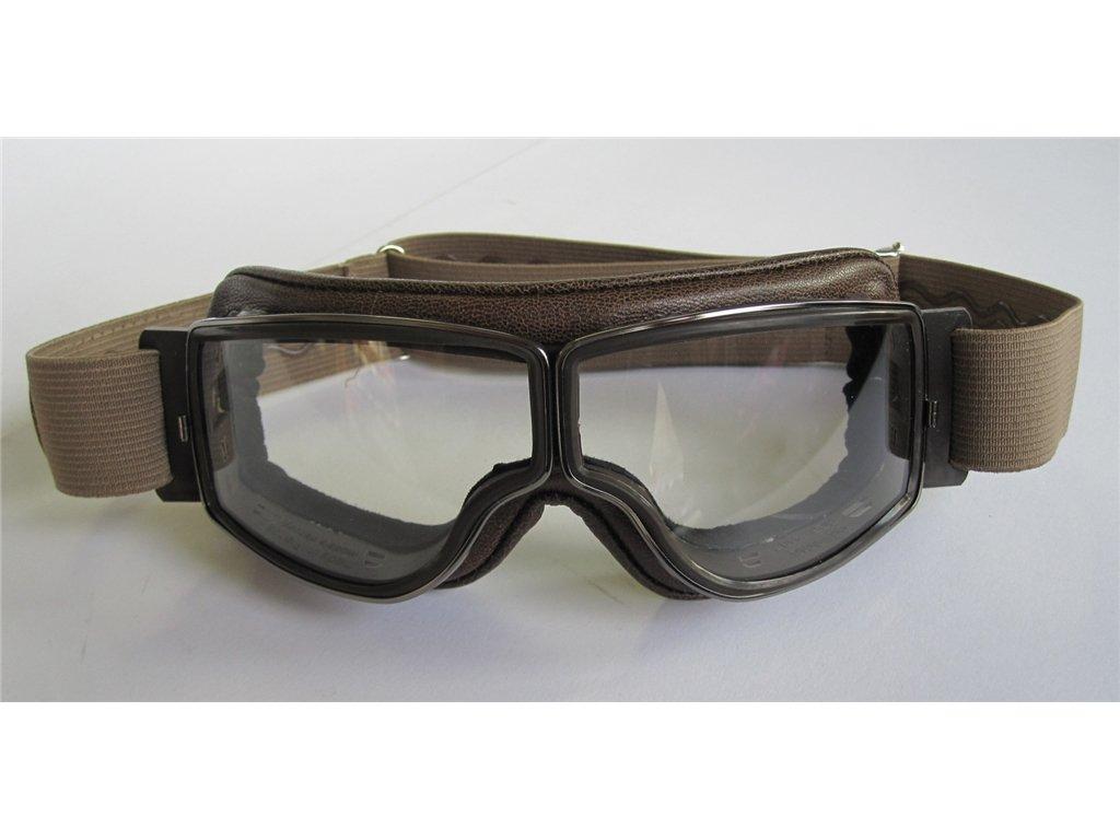 Gl/äser klar Aviator Motorradbrille T2 gunmetal Leder braun