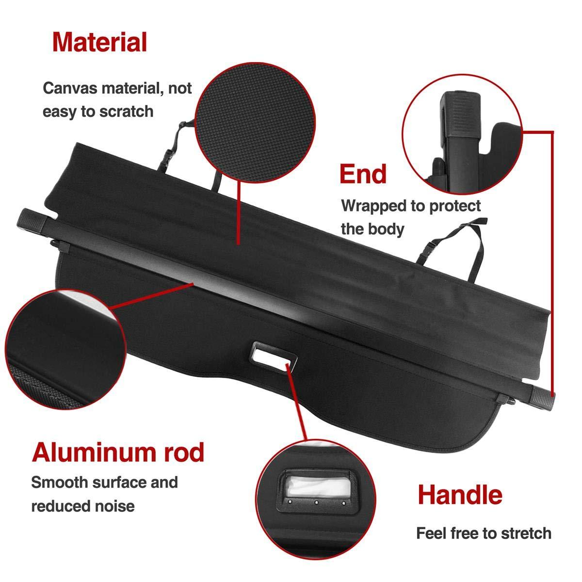 Autoxrun Rear Trunk Cover Retractable Black Cargo Cover Fits 2015-2017 Ford Edge