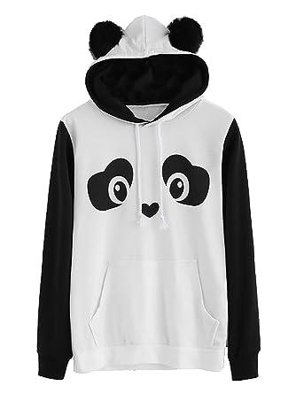 d489b0501 Romwe Women's Long Sleeve Kangaroo Pockets Slogan Letter Print Cute Panda  Ear Pullover Hoodie Black White