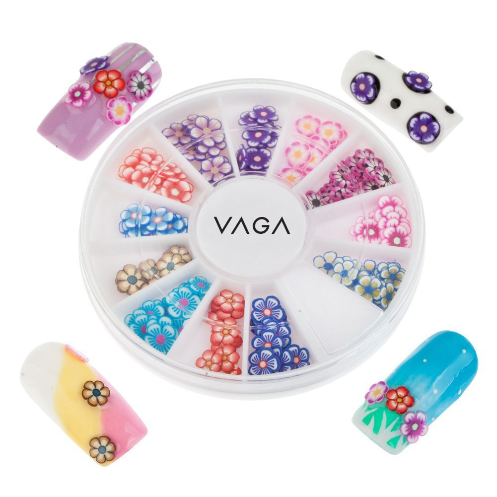 Professional Premium Manicure 3D Nail Art Decorations Wheel With Flowers Fimo Slices / Decal Pieces In 12 Different Shapes And Many Colours By VAGA®
