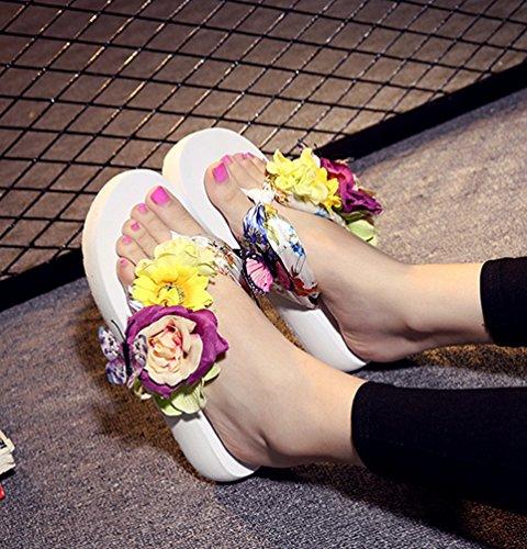 YOUJIA Mujeres Boho Flores Chanclas Verano Playa Zapatos de cuña Plataforma Zapatillas #1 Blanco