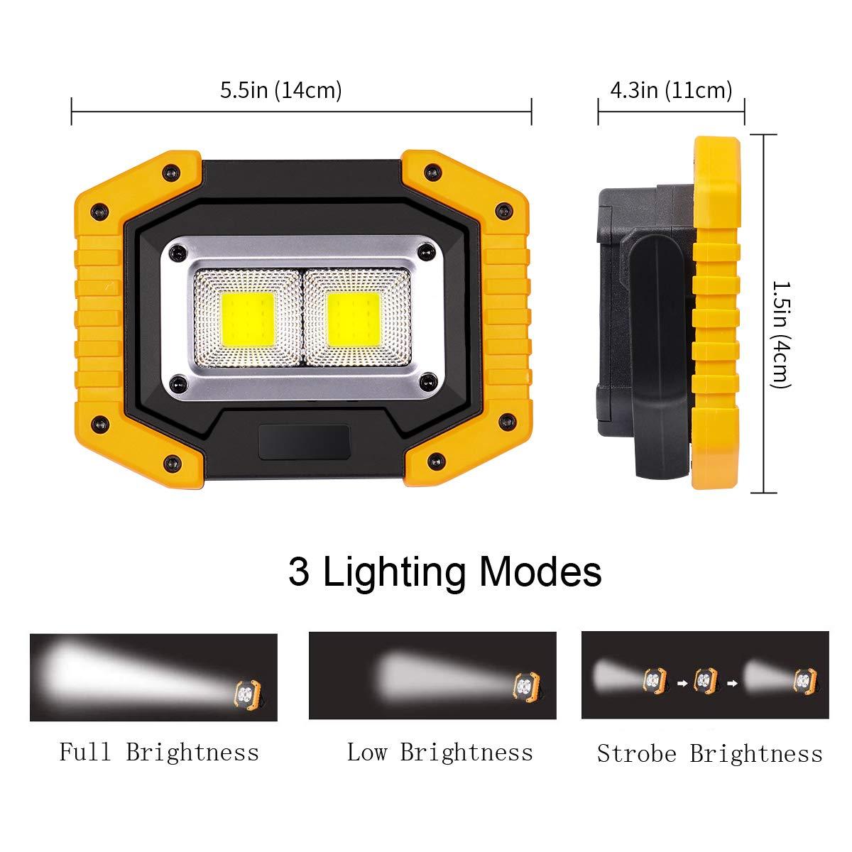 Pesca Luces de Seguridad de Emergencia Luz de Inundaci/ón Port/átil 30W USB Camping 3 Modos Linterna al Aire Libre Impermeable para la Reparaci/ón de Autom/óviles Luz de Trabajo LED Recargable