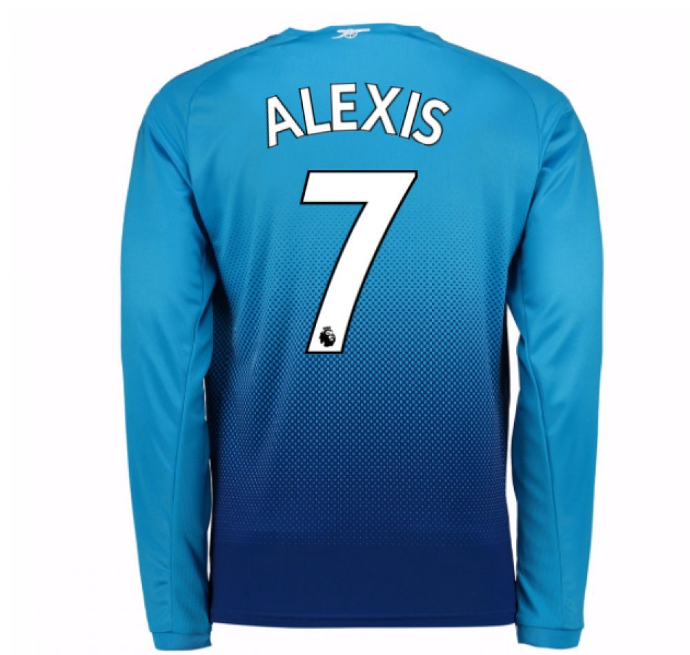 2017-2018 Arsenal Away Long Sleeve Football Soccer T-Shirt Trikot (Alexis Sanchez 7) - Kids